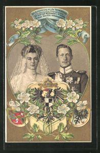Präge-AK Vermählung des Kronprinzen Wilhelm von Preussen mit Kronprinzessin Cecilie, 6. Juni 1905