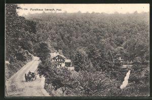 AK Bad Dürkheim, Strassenpartie am Forsthaus Isenach