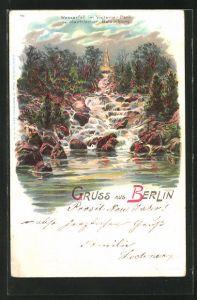 Lithographie Berlin-Kreuzberg, Wasserfall im Victoria-Park