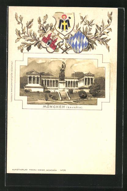 Passepartout-Lithographie München, Bavaria und Ruhmeshalle, Wappen