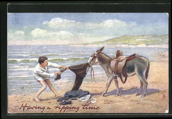 AK Having a ripping time, Maultier stiehlt die Hose eines Mannes am Meer