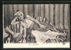 AK Mauresque, arabische nackte Frau mit Trommel