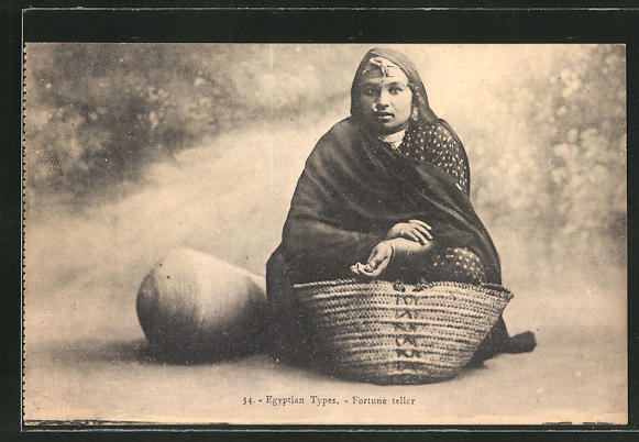 AK Egyptian Types, Fortune teller, arabische Hellseherin
