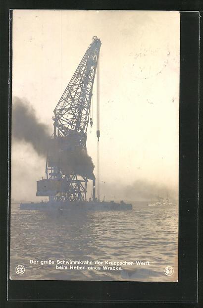 AK Grosser Schwimmkran der Kruppschen Werft beim Heben eines Wracks