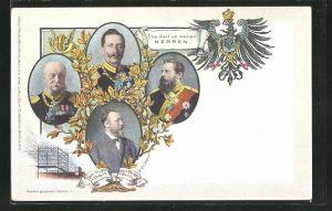 AK Ganzsache PP9C98 /02: Friedrich Wilhelm III. von Preussen, Kaiser Wilhelm II., Dr. H. v. Stephan