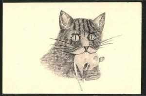 Künstler-AK Handgemalt: Katze mit Maus