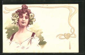 AK Jugendstil, Frau mit Blumen im Haar