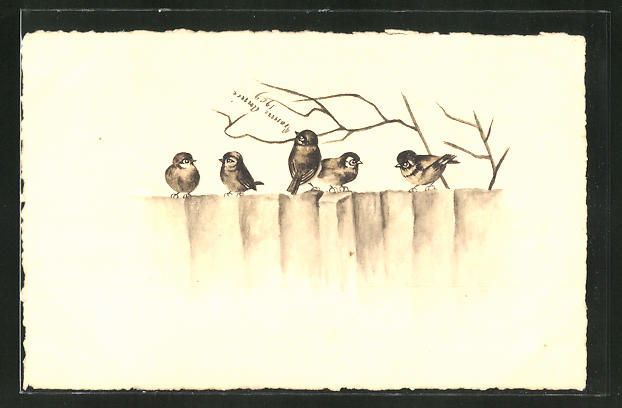 Künstler-AK Handgemalt: Vögel auf einem Zaun mit Zweigen