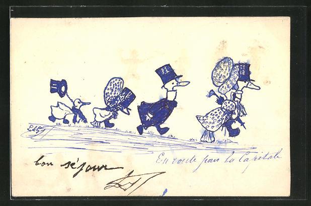 Künstler-AK Handgemalt: Entenfamilie mit Hut und Schirm