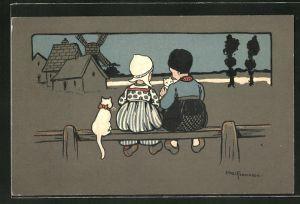 Künstler-AK Ethel Parkinson: Rückenansicht Bube und Mädchen auf einem Zaun mit Katzen