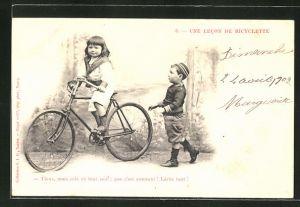 AK Tiens, mais cela va tout seul; que c'est amusant! Lache tout! Mädchen und Junge mit Fahrrad