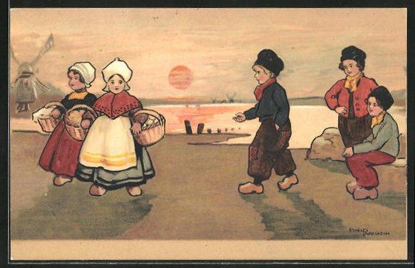 Künstler-AK Ethel Parkinson: Kinder in holländischer Tracht am See