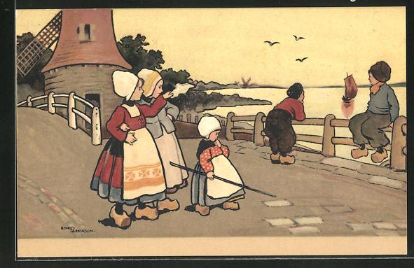 Künstler-AK Ethel Parkinson: Kinder in Holländischer Tracht