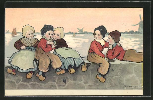 Künstler-AK Ethel Parkinson: Kinder in holländischer Tracht auf einer Mauer