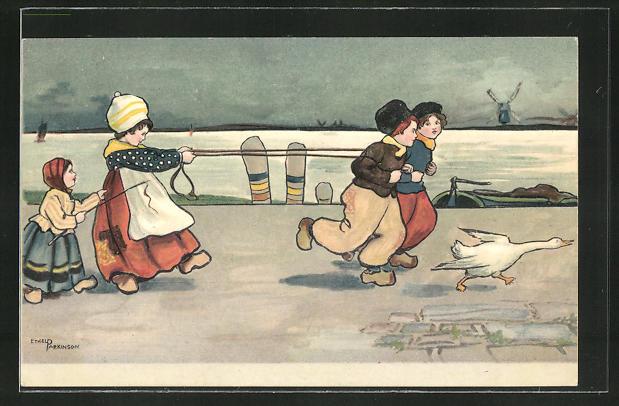 Künstler-AK Ethel Parkinson: Kinder in holländischer Tracht spielen Pferdegespann