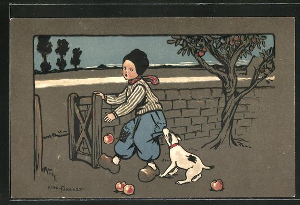 Künstler-AK Ethel Parkinson: Hund beisst einem jungen in die Hose