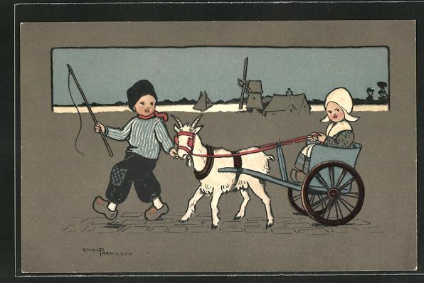 Künstler-AK Ethel Parkinson: Kinder mit Ziegengespann