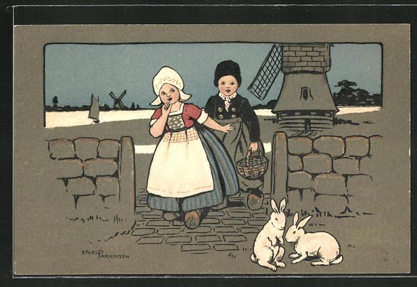 Künstler-AK Ethel Parkinson: Kinder in holländischer Tracht, Hasen