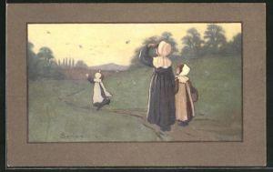 Künstler-AK S. Barham: Mutter mit Kinder beim Spaziergang