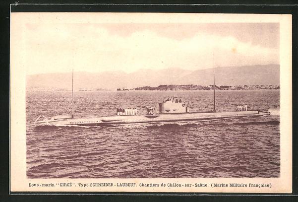 AK U-Boot Sous marin Circe, Type Schneider -Laubeuf