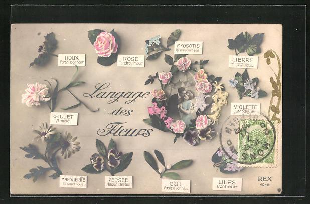 AK Blumensprache, Langage des Fleurs, Paar im Rosenkranz