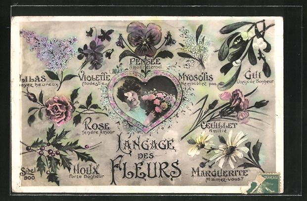 AK Blumensprache, Langage des Fleurs, Frau mit Blumenstrauss in einem Herz