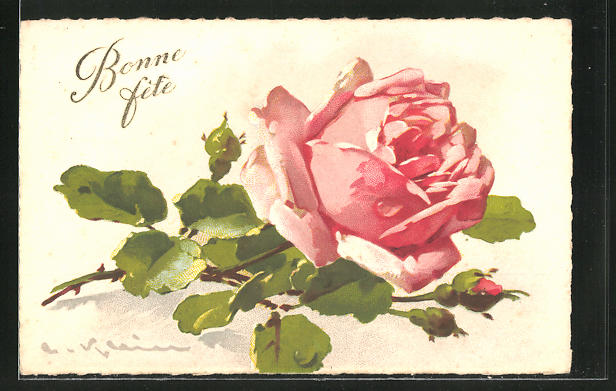 Künstler-AK Catharina Klein: Bonne Fete, rosa Rose mit Knospe
