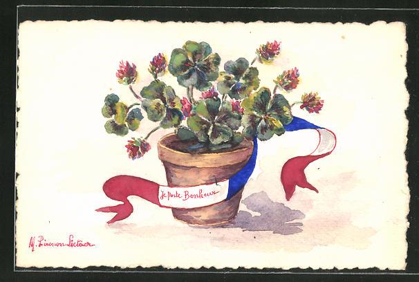 Künstler-AK Handgemalt: Glücksklee im Topf