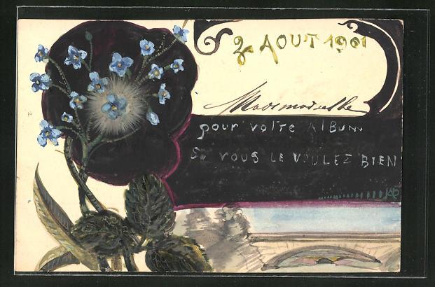Künstler-AK Handgemalt: Vergissmeinnicht und dunkle Blüte