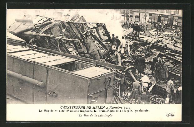 AK Melun, Eisenbahnkatastrophe 4.11.1913, Besichtigung der Unglücksstelle