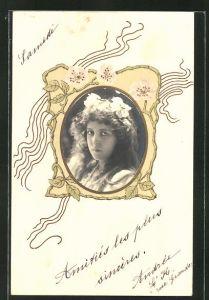 Präge-AK Mädchenportrait im Ornamentrahmen im Jugendstil