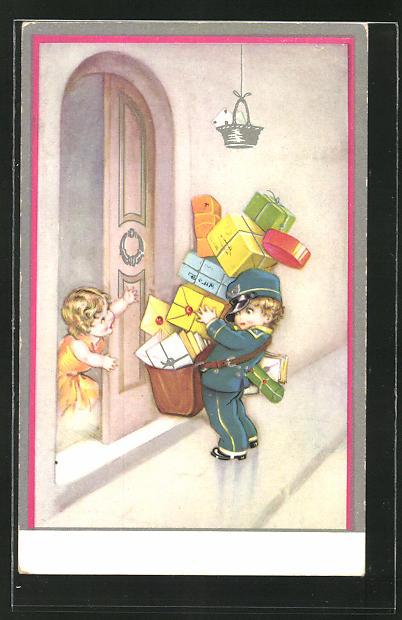 Künstler-AK Kleiner Briefträger bringt Pakete
