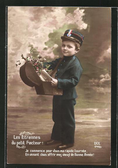 AK Kleiner Briefträger in Uniform, Les etrennes du petit Facteur!