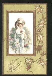Lithographie Elegante Dame im goldenen Rahmen, Jugendstil