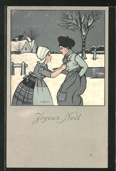 Künstler-AK Ethel Parkinson: Niederländische Paar im Winter