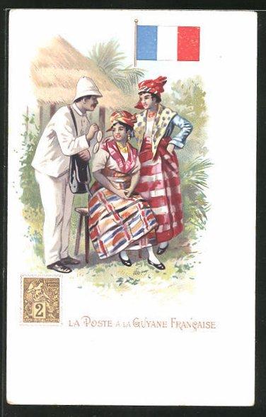 Lithographie La Poste a la Guyane Francaise, Briefträger