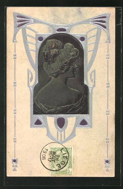 Leporello-AK Schöne Frau mit modischer Frisur, Jugendstil