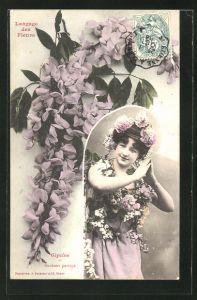 AK Langage des Fleurs, Glycine, Bonheur partage