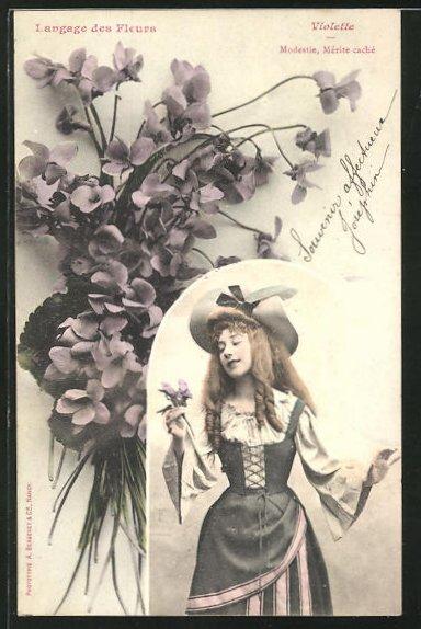 AK Langage des Fleurs, Violette, Modestie, Merite cache