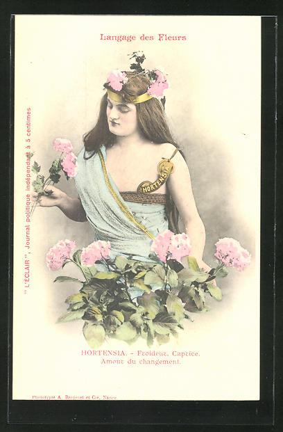 AK Langage des Fleurs, Hortensia, Froideur, Captice, Amour du changement