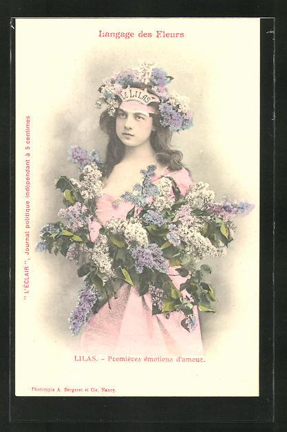 AK Langage des Fleurs, Lilas, Premieres emotions d'amour