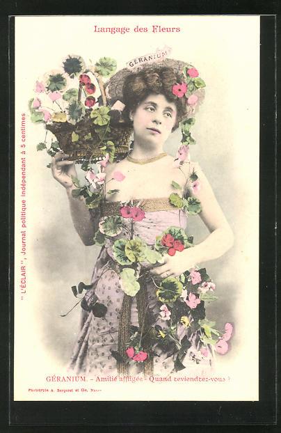 AK Langage des Fleurs, Geranium, Amitie affligee, quand teviendrez-vous