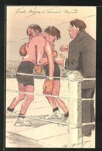 AK Erschöpfte Boxer im Ring