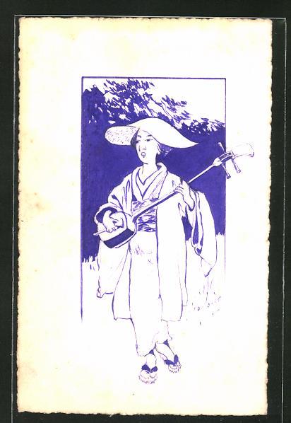 Künstler-AK Handgemalt: Geisha mit Instrument