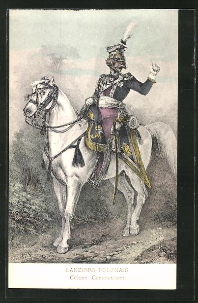 Künstler-AK Lanciers Polonais, Kavallerist der Befreiungskriege in Uniform