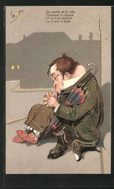 Präge-AK Betrunkener hält ein Nickerchen am Strassenrand, Trinkerhumor