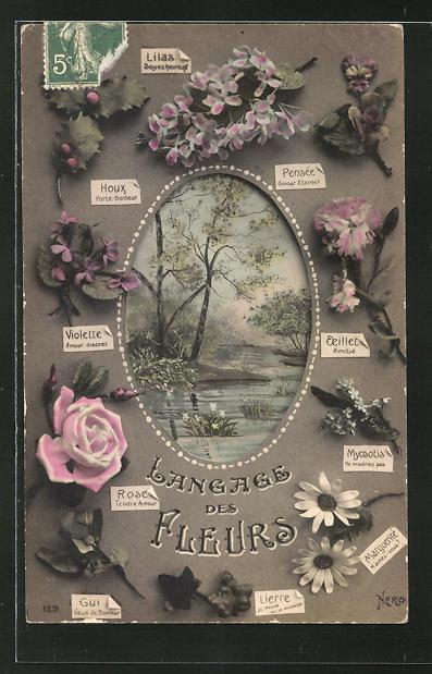 AK Langage des Fleurs / Blumensprache, Veilchen, Rosen, Myosotis