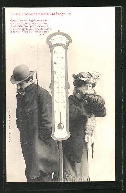 AK Le Thermomètre du Ménage, Quand par dix degrés..., Scherz