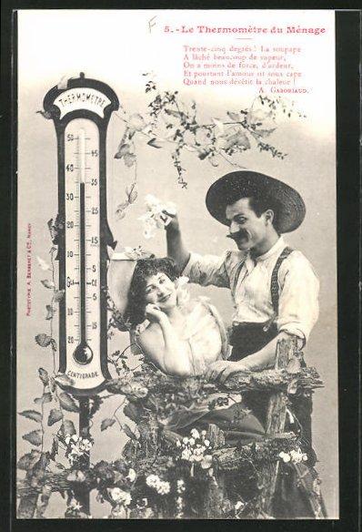 AK Le Thermomètre du Ménage, Trente cinq degrés..., Scherz