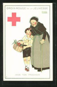 Künstler-AK Maggie Salzedo: Croix-Rouge de la Jeunesse, Aide ton Prochain, Rotes Kreuz, Kind und Greisin